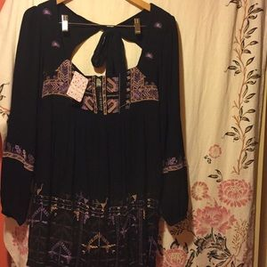 Free people embroidered black tie back tunic xs